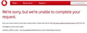 Vodafoneアイルランドログインエラー