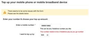 Vodafoneアイルランドトップアップ
