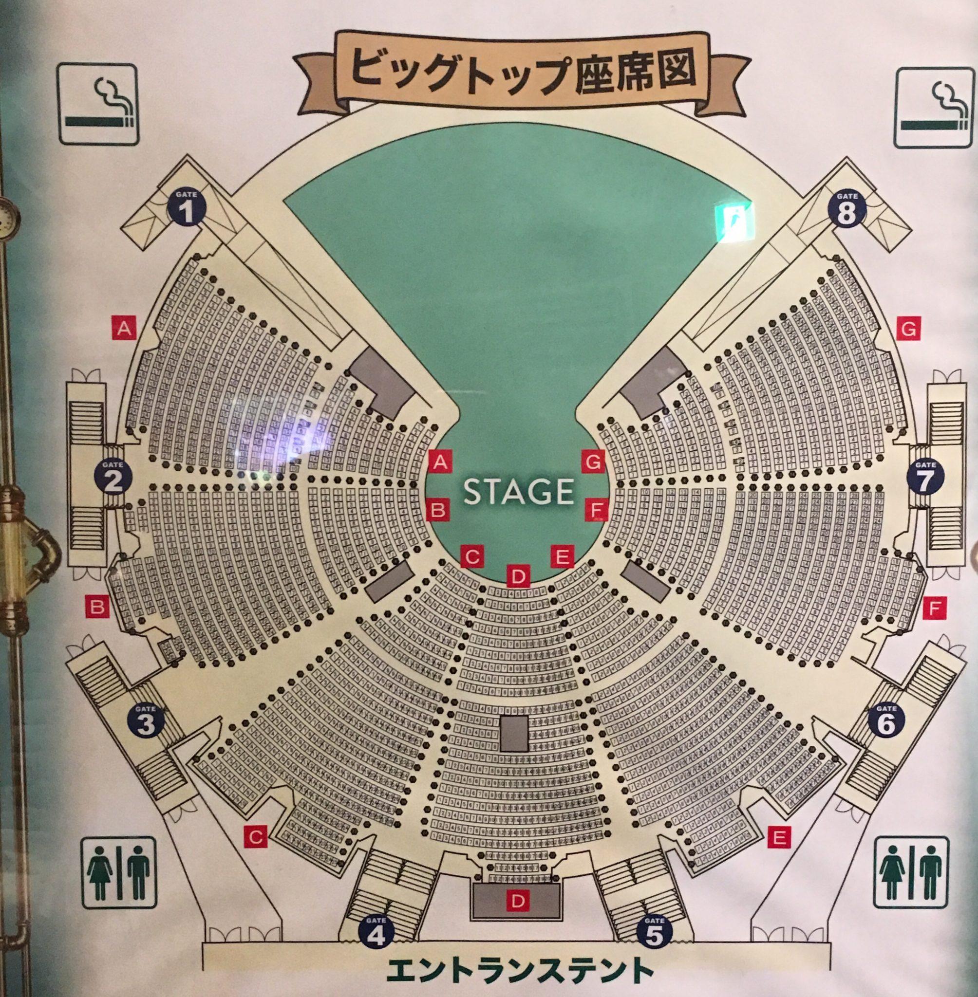シルクドゥソレイユキュリオスの座席表東京公演お台場ビッグトップにて
