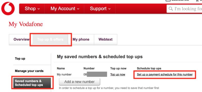 VodafoneアイルランドTopup1